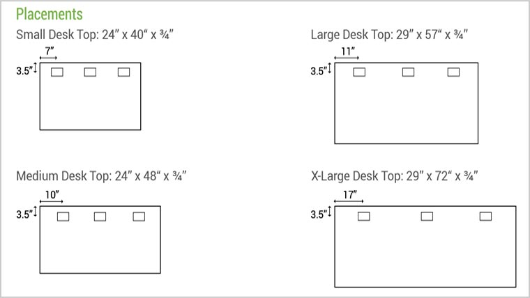 Pop-up Power Supply Hole Placements MultiTable Standing Desk Accessories