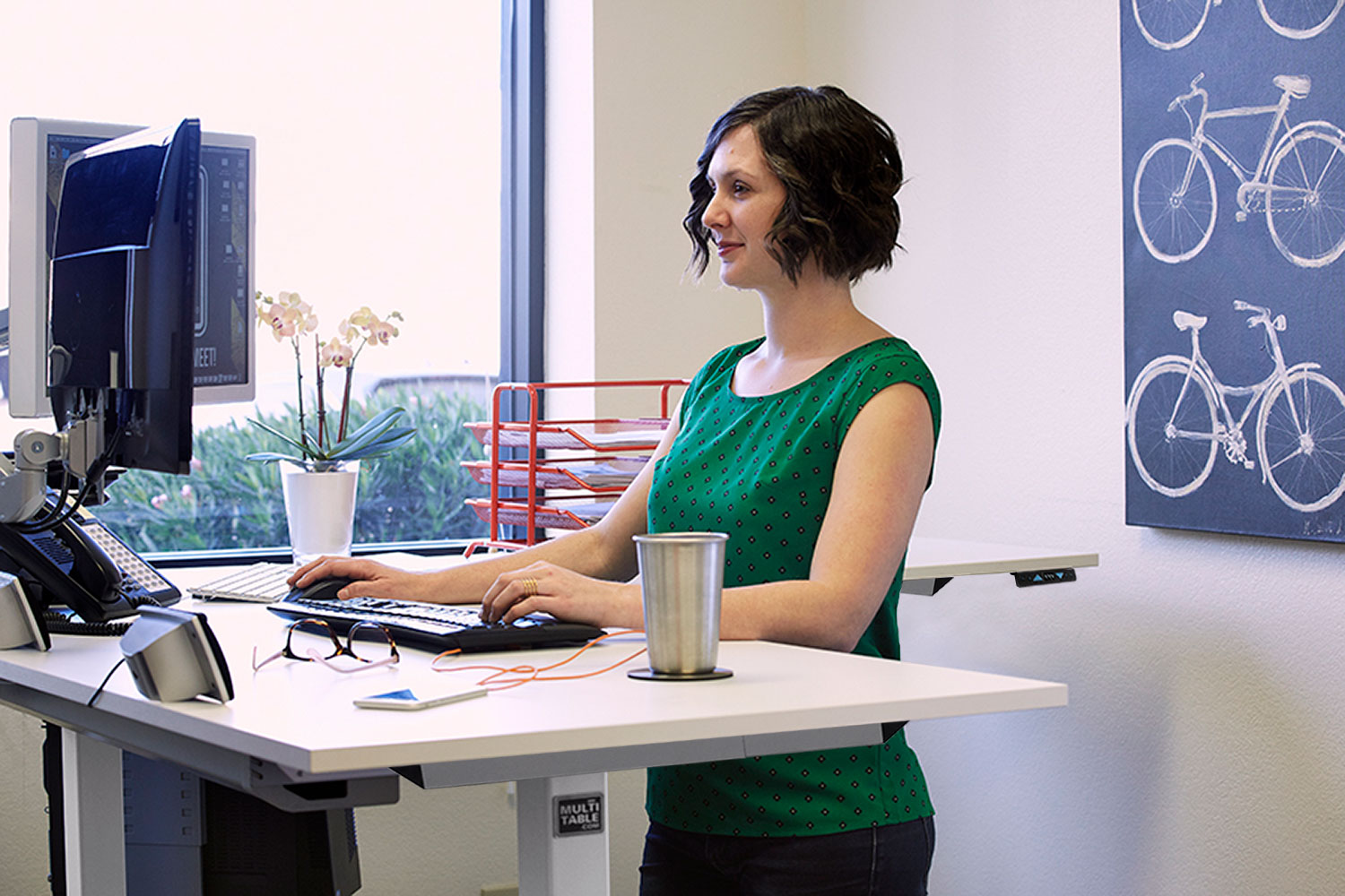 L Shaped Sit Stand Adjustable Height Desk By MultiTable