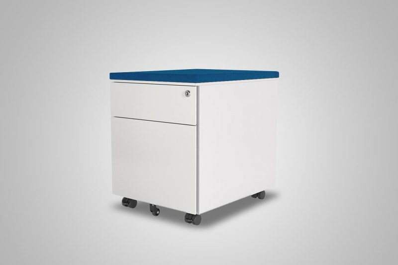 2 Drawer Mobile Pedestal White With Cobalt Blue Cushion Top MultiTable Office Furniture Supplier Phoenix Arizona Since 2010