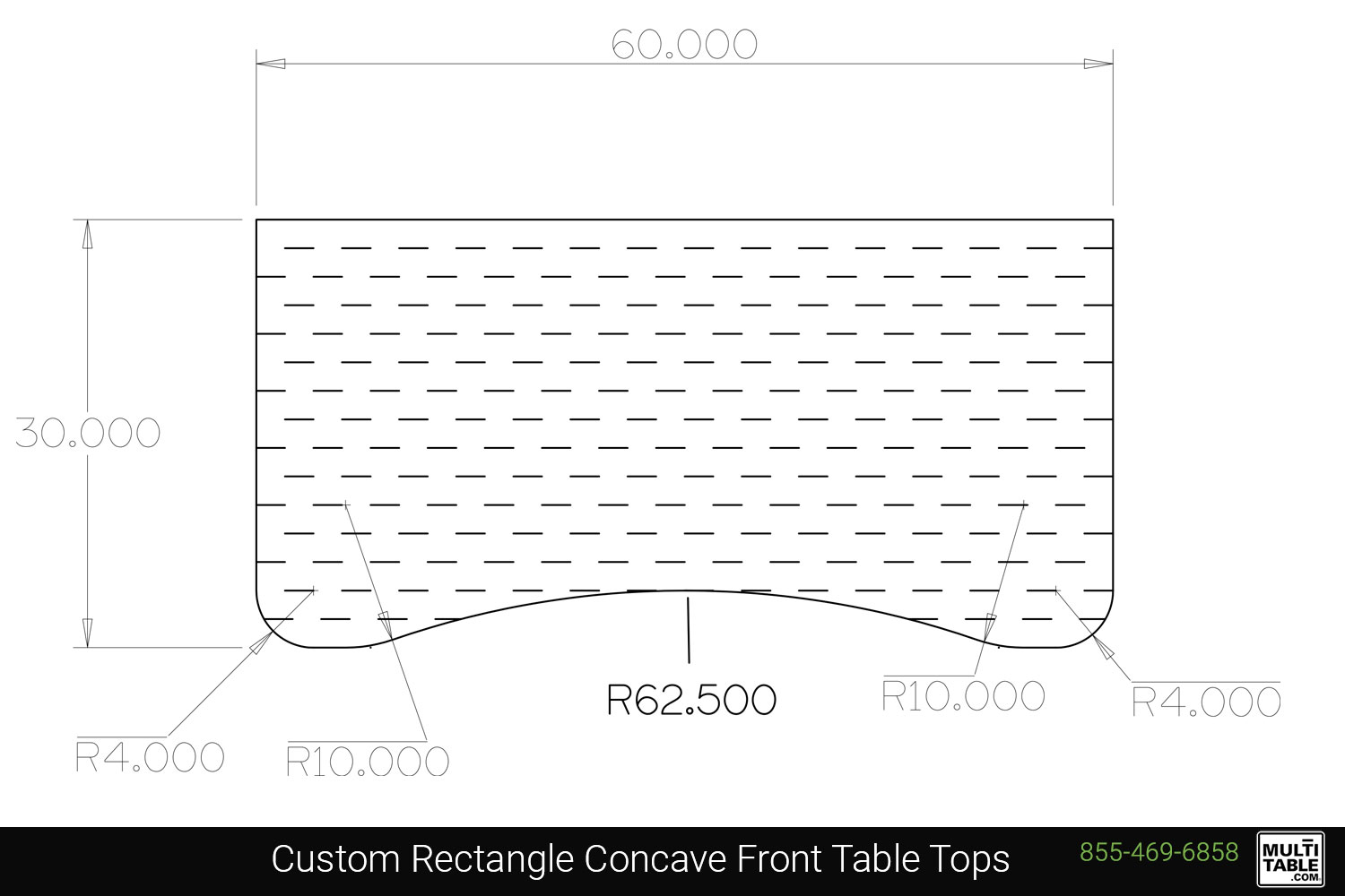 Custom Rectangle Concave Front Table Tops Shapes MultiTable Office Furniture Manufacturing Phoenix Arizona Since 2010