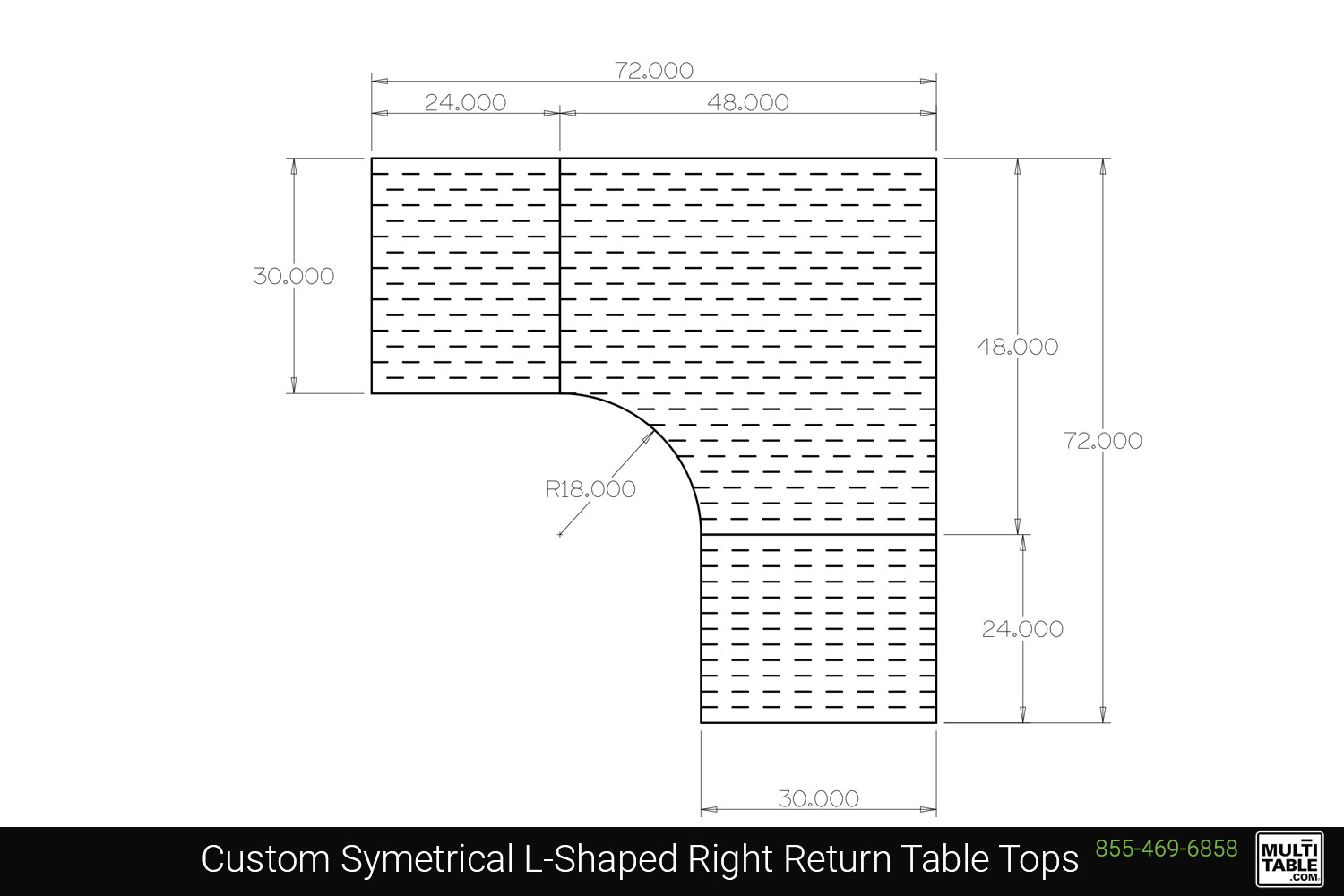Custom Symetrical L Shaped Right Return Table Tops Shapes MultiTable Office Furniture Manufacturing Phoenix Arizona Since 2010
